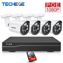 Techege H.265 1080P CCTV System 4CH NVR Kit 2.0MP Security Camera HD IP Camera Outdoor Waterproof Video Surveillance System