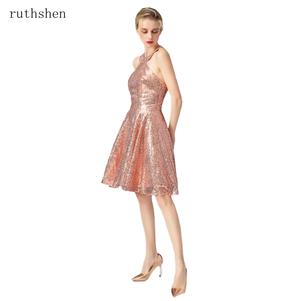 ruthshen Sequin   Dresses   2019 formal Rose Gold Rose Pink Short   Cocktail     Dresses   Halter Backless Sexy Midi   Dress   Women Vestidos