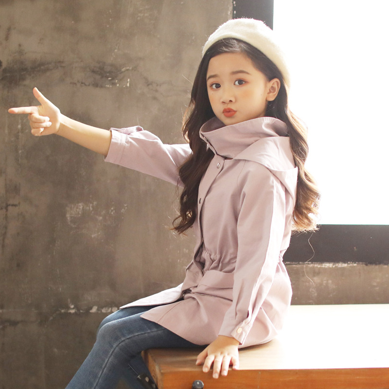 Girls Spring And Autumn Coat Children's Clothing Girls Clothes   Trench   Coats For Age 4-11 Years 393