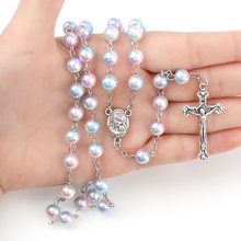 a226a6679a0e 7 colores Rosario 8mm perlas redondas perlas Rosario Católico con Santo  suelo encanto crucifijo oración joyería religiosa