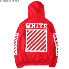 New Fashin OFF WHITE Red Cardigan Hooded Zipper  Hoodies Sweatshirts Men Hip Hop Pullover Tracksuit Sweatshirts Outwear Jacket
