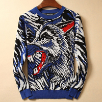 SEESTERN brand clothing fashion animal sweater men Camouflage wolf sweaters long sleeve warm tops hip hop male wolfish casual