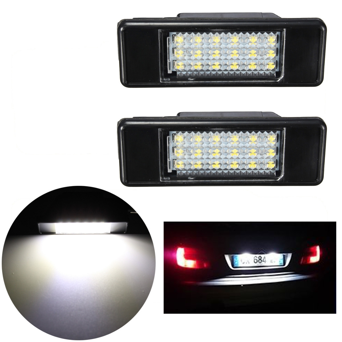 2 x Car Rear 18 <font><b>LED</b></font> SMD License Number Plate Light <font><b>Lamp</b></font> 6000K For <font><b>Peugeot</b></font> 106 207 307 <font><b>308</b></font> 406 407 508 For CITROEN C3 C4 C5 C6 C8 image