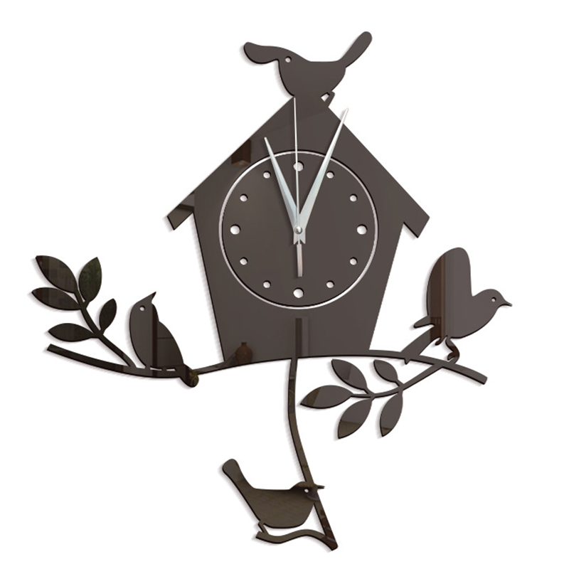 2018 Hot Novelty Mascot Bird Wall Clock 3D DIY Wall Sticker Cartoon Bird Style Vinyl Real Clocks Home Decor Children Gift 60046