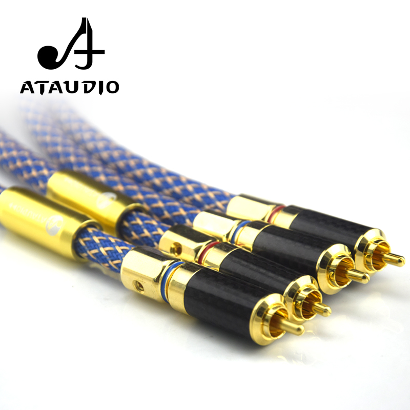 ATAUDIO Silver Plated Hifi RCA Audio Cable Dual Shielding High Quality 2RCA to 2RCA Male DVD