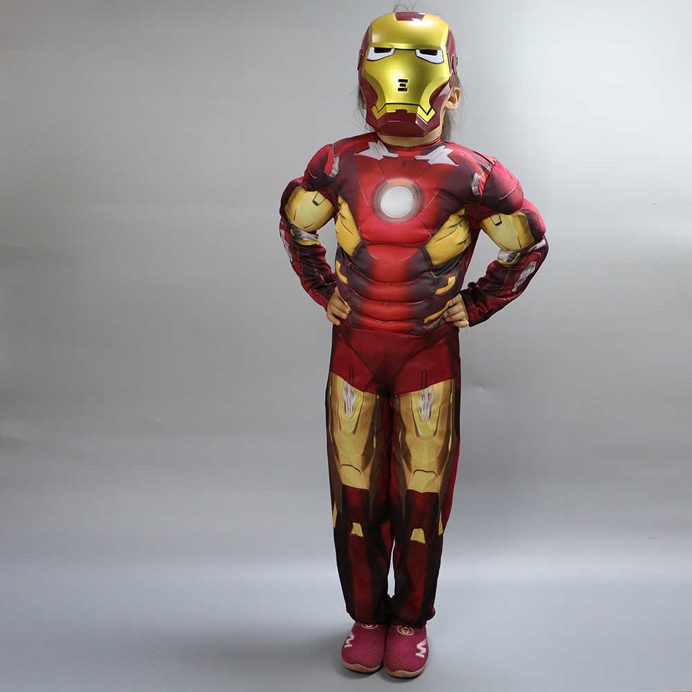 Movie Superhero Iron Man Costume  for kids mask  War Infinity Kids Boys Girls Halloween Superman Party Muscle Ironman Cosplay