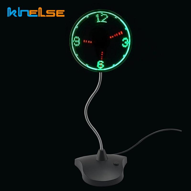 Portable Durable Adjustable USB Gadget Mini Flexible LED Light USB Fan Time Clock Desktop Clock Cool Gadget Time Display gift
