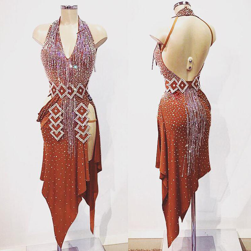 Latin Dance Dress Women Sexy Backless Brown Dress For Latin Dancing,salsa Tango Irregular Dress Custom-handmade Latin Dress