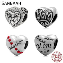 Sambaah Mother Heart Charm 925 Sterling Silver Love Mom Grandma Beads fit Original Pandora Mother's Day Family Bracelet цена