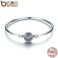 BAMOER Authentic 100 925 Sterling Silver Classical Silver S Pave Vintage Snake Chain Bangle Bracelet Luxury
