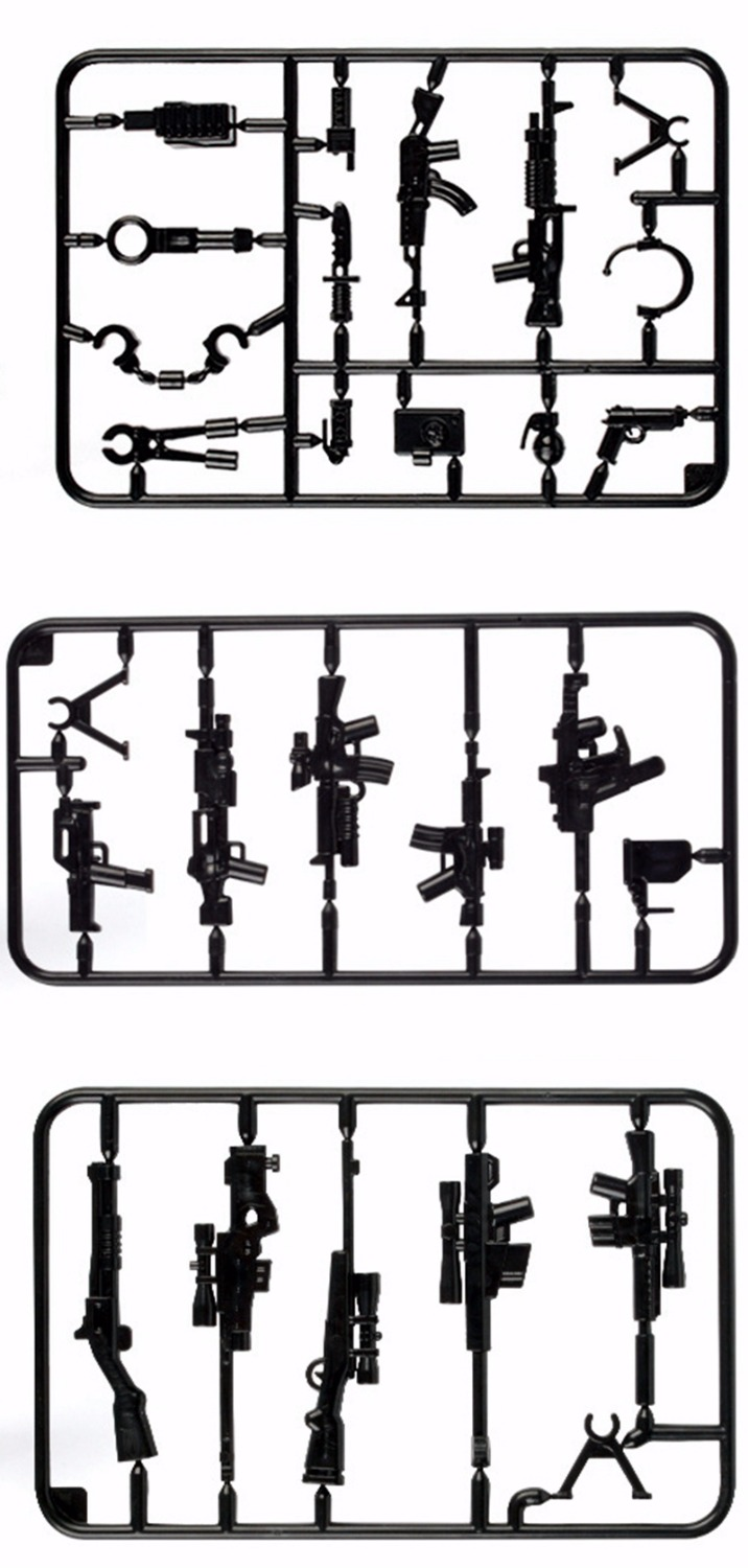 Moc pistol sniper rifle gun military weapon building blocks swat world war 2 ww2 army soldiers