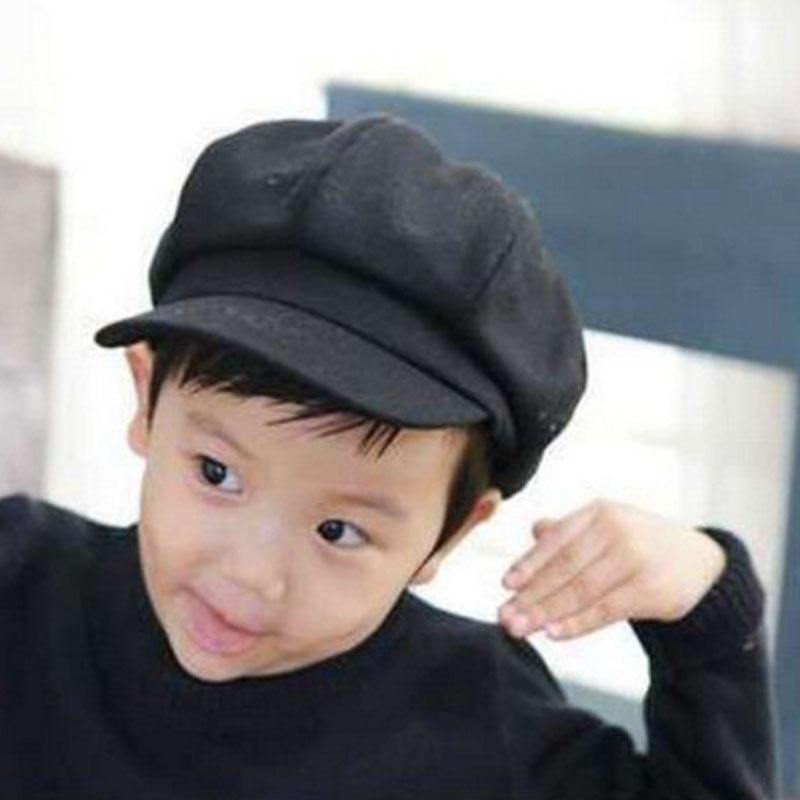 Toddler Baby Beret Hat For Boys Girls Children Newsboy Flat Cap Casquette Spring Autumn Solid Red Black Gray 2-6Y