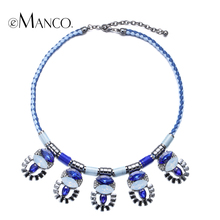 eManco handmade rope choker necklace alloy crystal bib statement weave necklaces for women geometric pendant bisuteria mujer