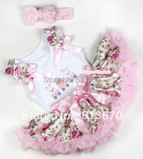 Light Pink Floral Rose bebé Pettiskirt del huevo de pascua Ruffle arco blanco Top & Light Pink Headband Light Pink Rose Bow MANG1153