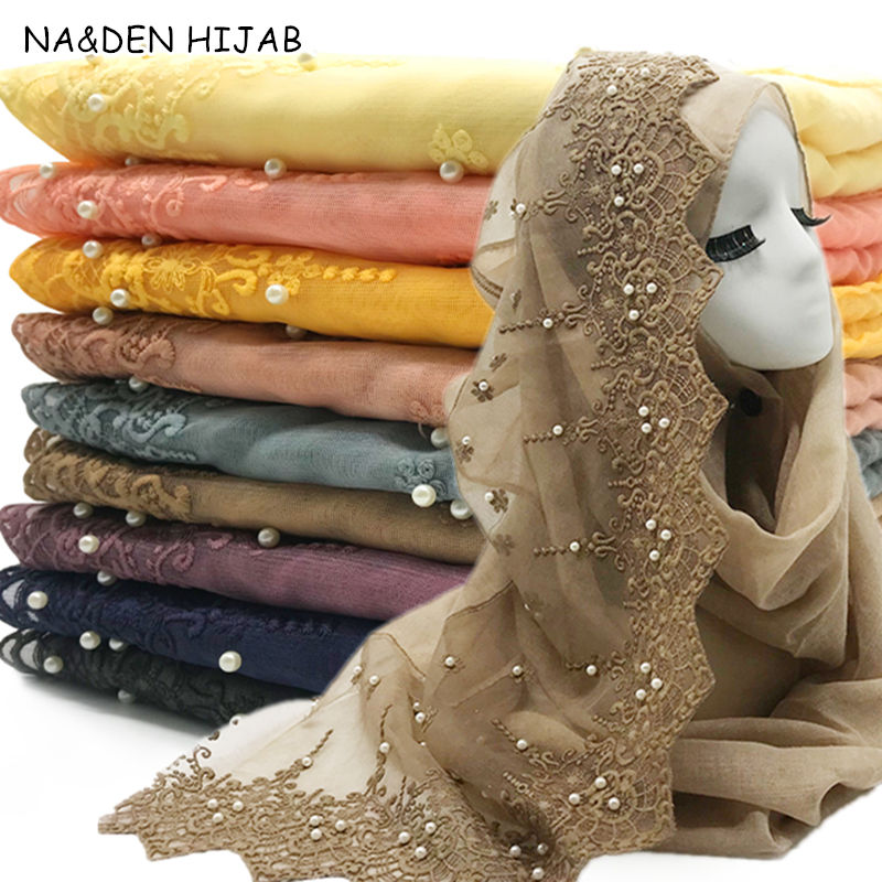 NEW Wedding Women Hijab Scarf Embroidery Lace Pearl Headscarf Plain Maxi Women Muslim Hijabs Fashion Scarves And Shawls