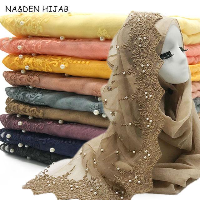 新しいウェディング女性ヒジャーブスカーフ刺繍レース真珠スカーフ無地マキシ女性イスラム教徒hijabsファッションスカーフとショール