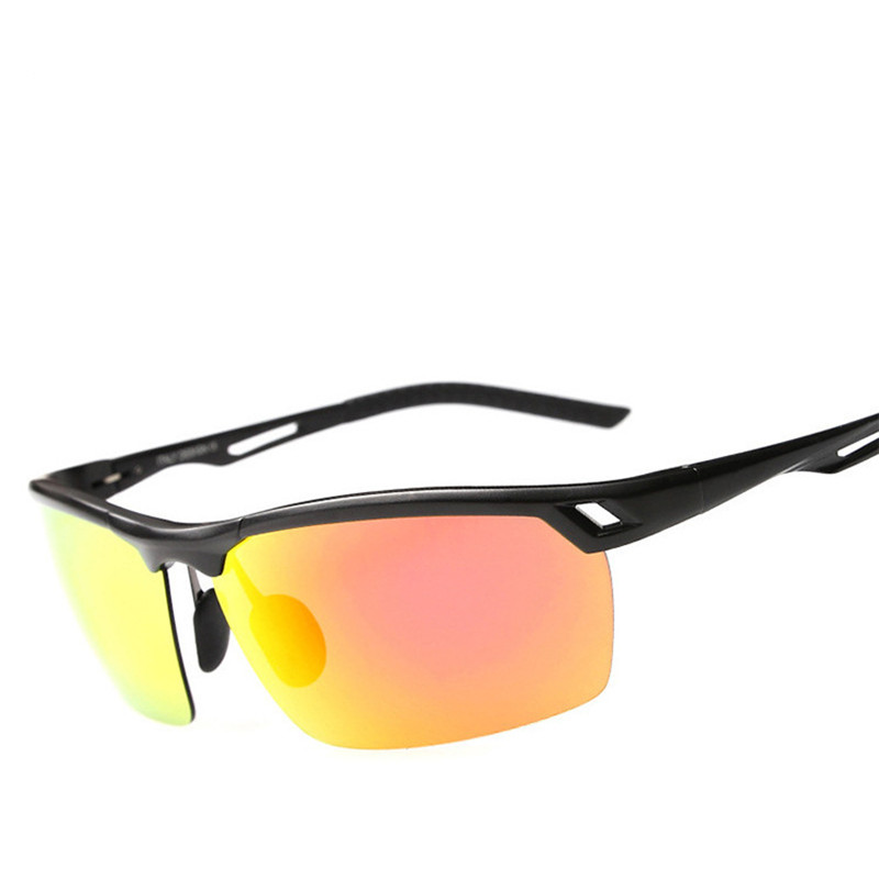 Q654 Men s aluminum  magnesium alloy polarized sunglasses bright reflective sport riding mirror driving glasses Cycling Eyewear