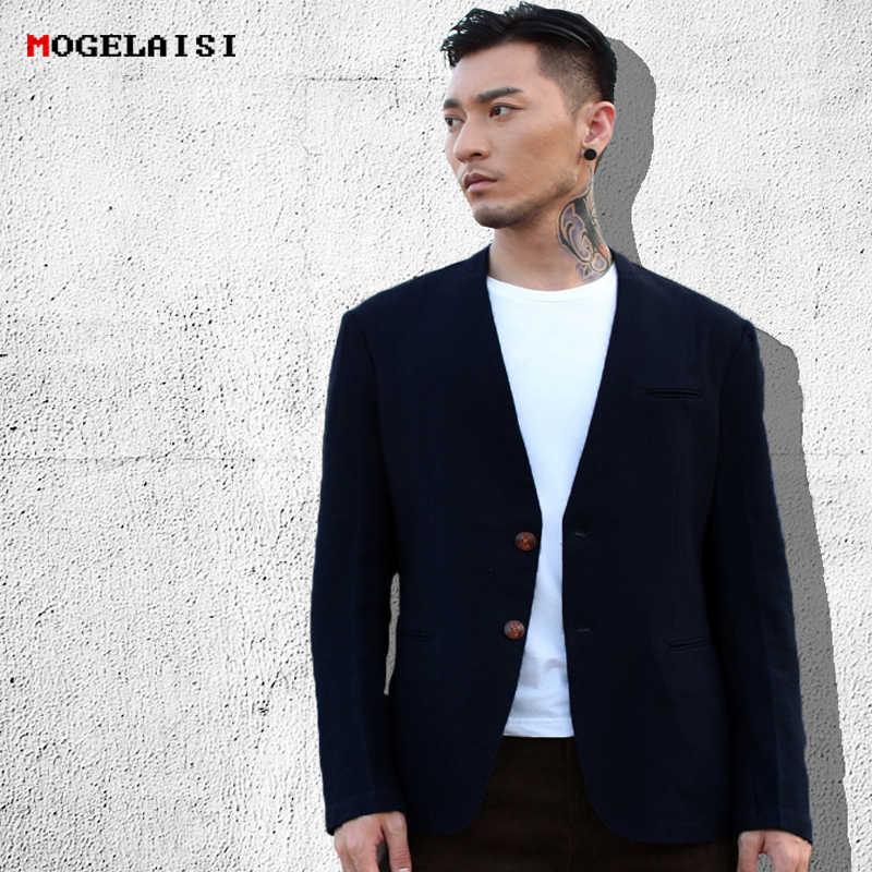 2018 春の新カジュアルスーツ男性中国風のジャケットリネンコットンスリムレトロスーツ長袖ブレストジャケットアジアサイズ