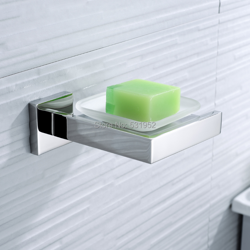 Square Stainless Steel Soap Dish Wall Mounted Soap Holder With Glass Dish Polished Soap Basket Bathroom Accessories