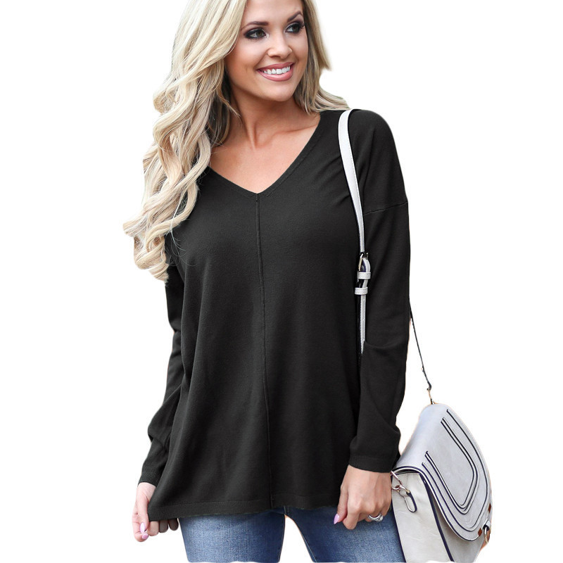 5e53692ebaf US $7.48. 3 orders. 2019 Spring Women Casual Bouses Long Sleeve V-Neck  Knitted Shirt Tunic Ladies Solid Loose