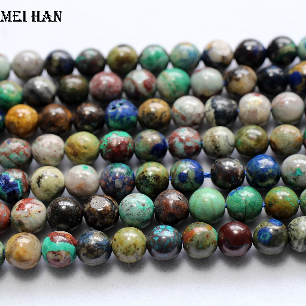 Chrysocolla Beads-Stone Jewelry-Making Round Natural Meihan for Smooth 7-7.5mm Loose