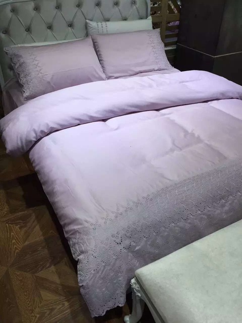 100 cotton satin fabric lilac blanket cover luxury girls princess lace bedding sets queen king