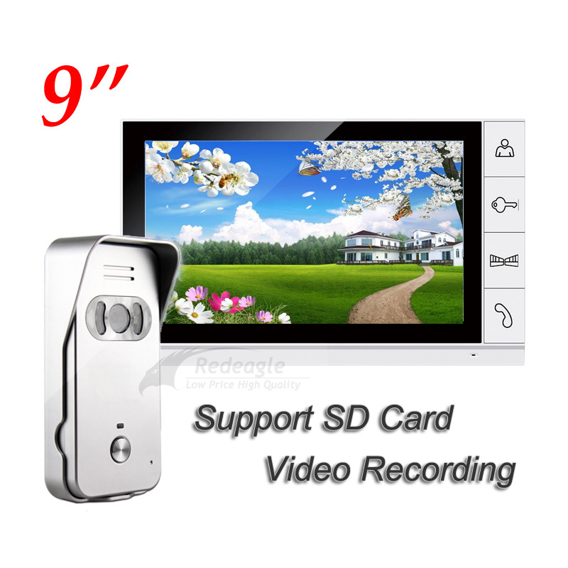 9 inch LCD Wired Video Door Phone Intercom Home Security Set Night Vision 700TVL Camera Support SD Card Recording Up To 32GB