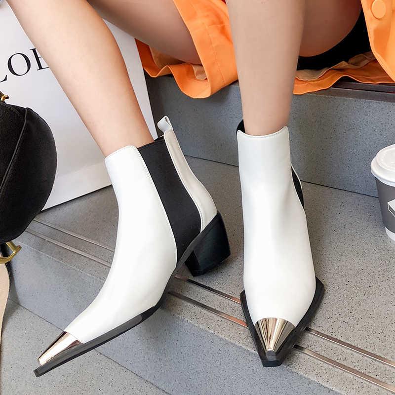 ISNOM Chelsea yarım çizmeler Kadınlar Metal Ayak Sivri Patik Kadın Elastik Inek deri ayakkabı Kadın Kalın Topuklu Ayakkabı Bayan Sonbahar