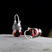 2018 New Limited Earings Fashion Jewelry Real 925 Sterling Silver Earrings For WomenWholesale Lady Elegant Garnet Ear Clip 2017 limited qi xuan fashion jewelry