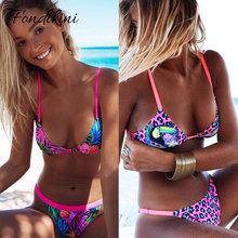 2018 Sexy Bikinis Women Swimsuit Floral Print Bikini Set Retro Swimwear Female Brazilian Beach Wear Bathing Suit Biquini Swim