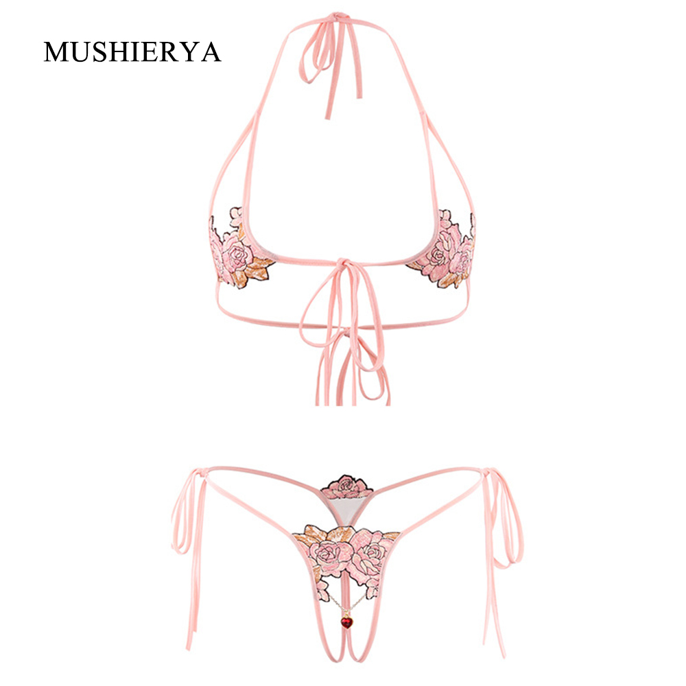 MUSHIERYA Sexy Lingerie Set Hot Erotic Elastic Low Waist Women Underwear Set Sexy Hollow Lingerie Sex Bra And Open Crotch Panty