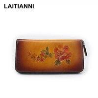 Handmade Women S Wallets 2018 Flower Hot Sale Female Purses Real Leather Wholesale Vintage Wallets Ladies