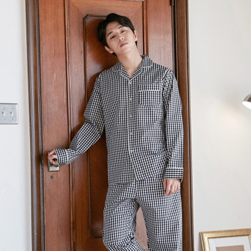 Black and white square Japanese couple pajamas women autumn winter cotton men long-sleeved home service suit