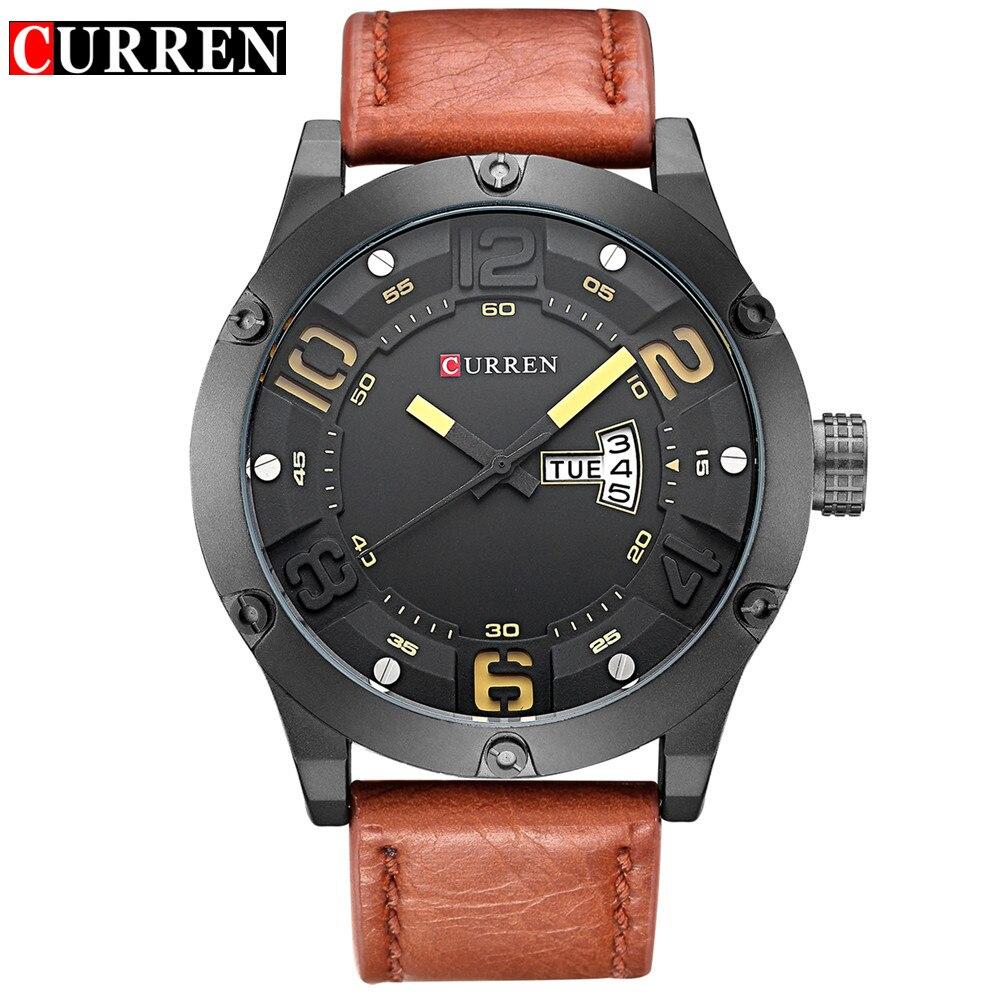 Prix pour Curren Marque Hommes Mode Casual Montres Hommes Sport Militaire Quartz Analogique Date Horloge Homme hommes Montre-Bracelet en cuir