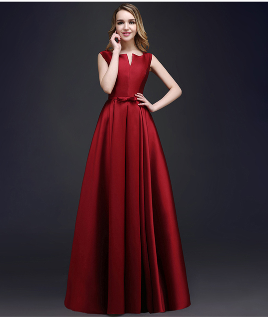 b911ff42fdd3 1 piece taffeta material red wine color simple 2015 new arrival evening  dress