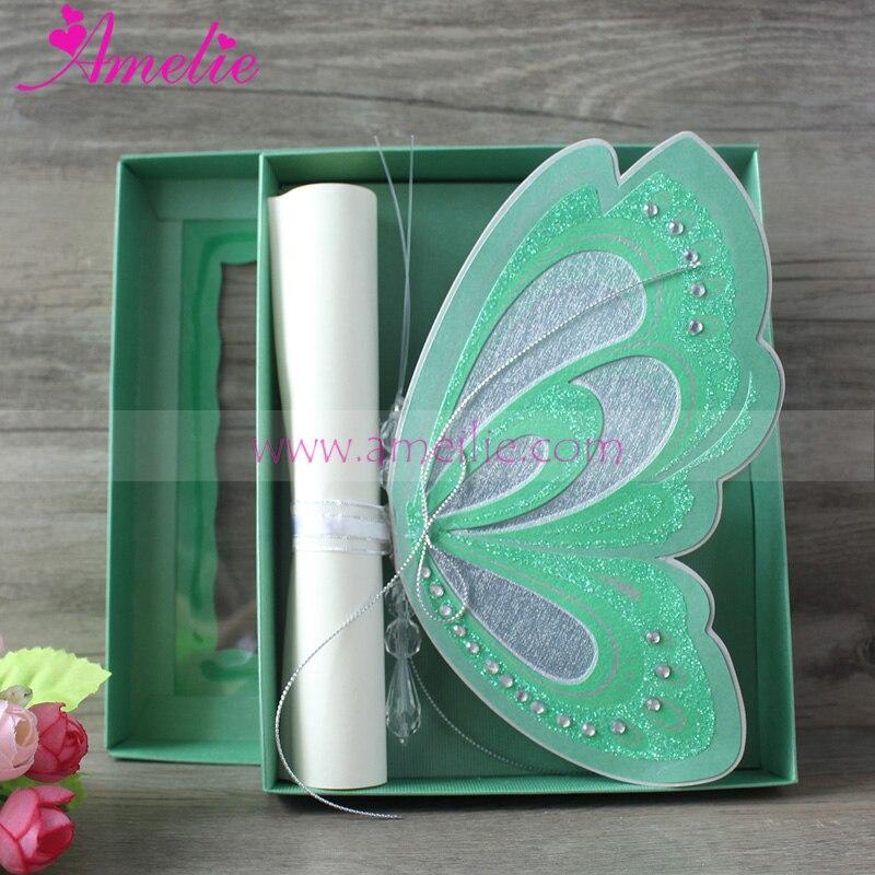 17114 6 De Réduction50 Pcs Lot Vert Couleur Forêt Thème Mariage Fête Papillon Invitation Carte Bébé Douche Anniversaire Invitation Carte Fête