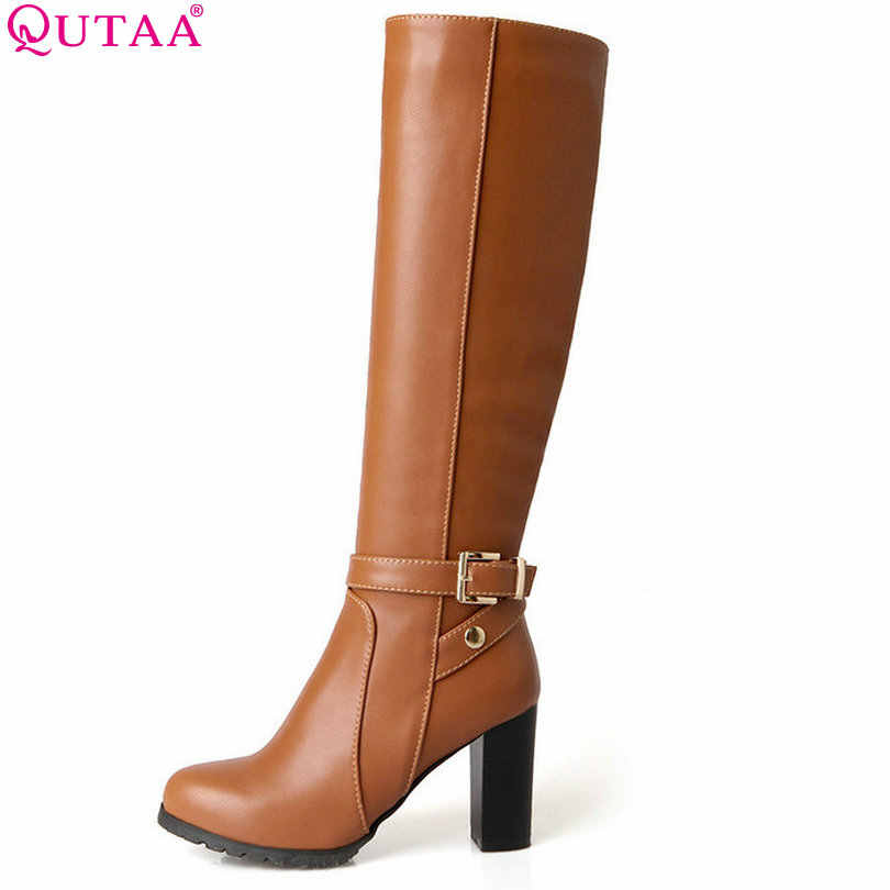 QUTAA 2018 Winter Autumn Women Boots Platforms Square Knee Heel Boots  Motorcycle Lady Shoes Size 34 3ba2f9154c30