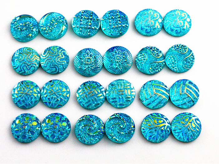 New New New! 40pcs/Lot 12mm Blue AB Color 12 Fashion Style Flat Back Resin Cabochons Fit 12mm Cameo Base Cabochons