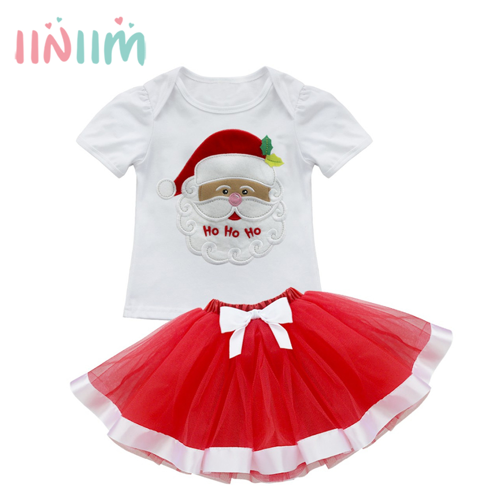 Cute Girls Kids Baby Christmas Tree Santa Outfit Clothes Top T-Shirt Tutu Skirt Set Dress Up Costume for Party Size 12M-5Y xmas rhinestone santa baby top green white dot red skirt baby girl outfit 1 8y mapsa0048