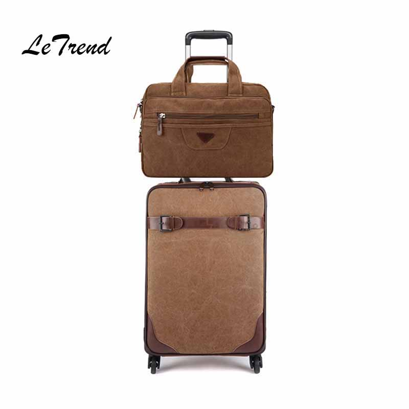 09f5bb838a07 US $137.56 24% OFF|Letrend Rolling Luggage Set Spinner Black Men Vintage  Trolley Suitcases Wheel Cabin Travel Bag Business Laptop bag Password  box-in ...