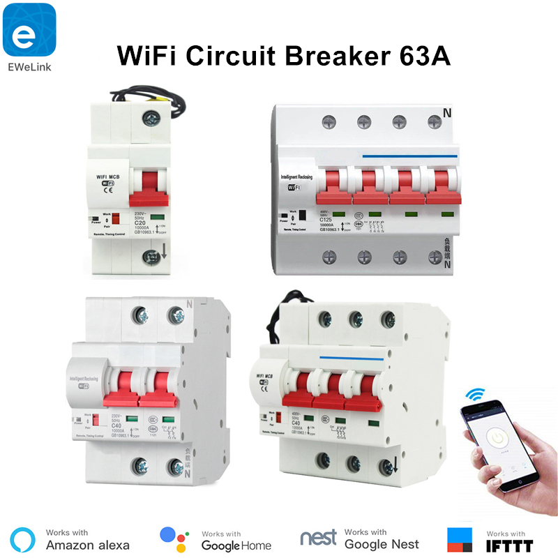 63A 1P-4P WiFi Circuit Breaker Smart Switch Automation Remote Control Timer Overload Protection Smart Breaker Work with Alexa