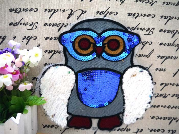 Owl animal sequin fabric patch stickers clothes accessories quality t-shirt clothes decoration applique paillette