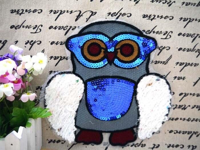 Owl animal sequin fabric patch stickers clothes accessories quality t-shirt clothes decoration applique paillette