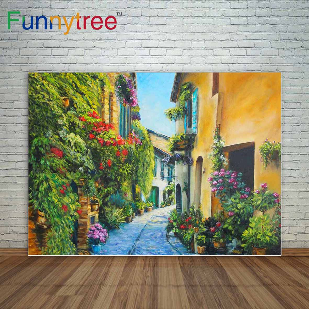Funnytree photo background alley between houses in city fresh flowers backdrop for photo shooting painting photocall party