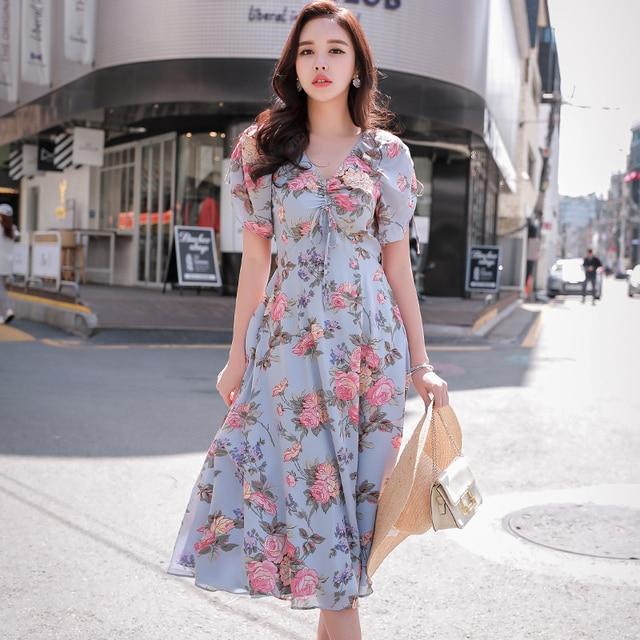 Dabuwawa Women New Summer V-neck Bohemian Print Midi Dress Ladies Boho Elegant Romantic Floral Dresses D18BDR274