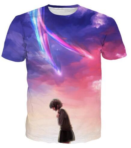 New Arrive Casual O-Neck Graphic t shirt Kimi No Na Wa Anime Your Name T-Shirt Hipster Tumblr Unisex Tees Outfits Women Clothing