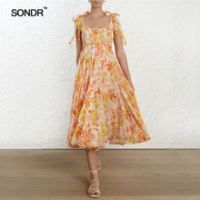 SONDR Casual Print Women Dress Strap Off Shoulder Sleeveless Bandage High Waist Midi Dresses Female Summer 2019 Fashion