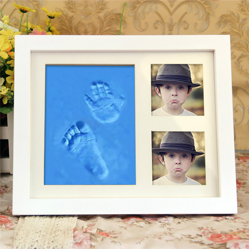 DIY Handprint Footprint Cute Baby Photo Frame Soft Air Drying Nontoxic Clay Premium Clay & Wood Frames Baby shower Home Decor infant baby children handprint footprint white contracted hanging wall photo frame christmas gifts for children scale 3 5