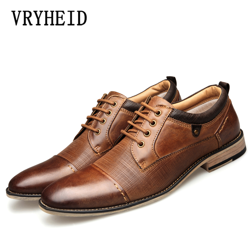 VRYHEID Brand Genuine Leather Men Formal Shoes Top Quality Cow Leather Oxfords Men Business Dress Shoes