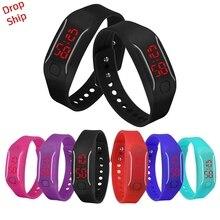 Нежные мужские женские новые модные дизайнерские силиконовые светодиодный часы Дата спортивный браслет цифровой наручные часы доставка J18W30 HY